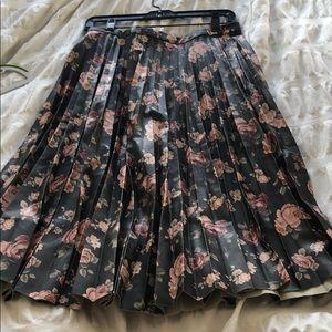 BB Dakota faux leather pleated printed midi skirt